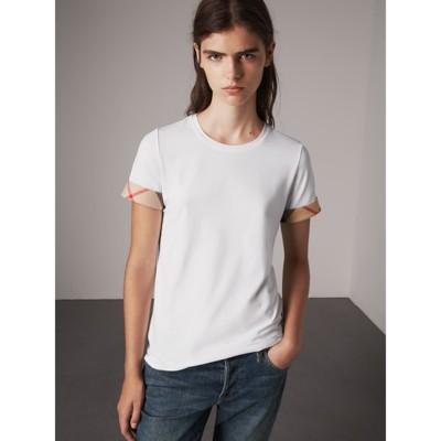 Burberry - T-shirt en coton extensible avec revers à motif check - 5