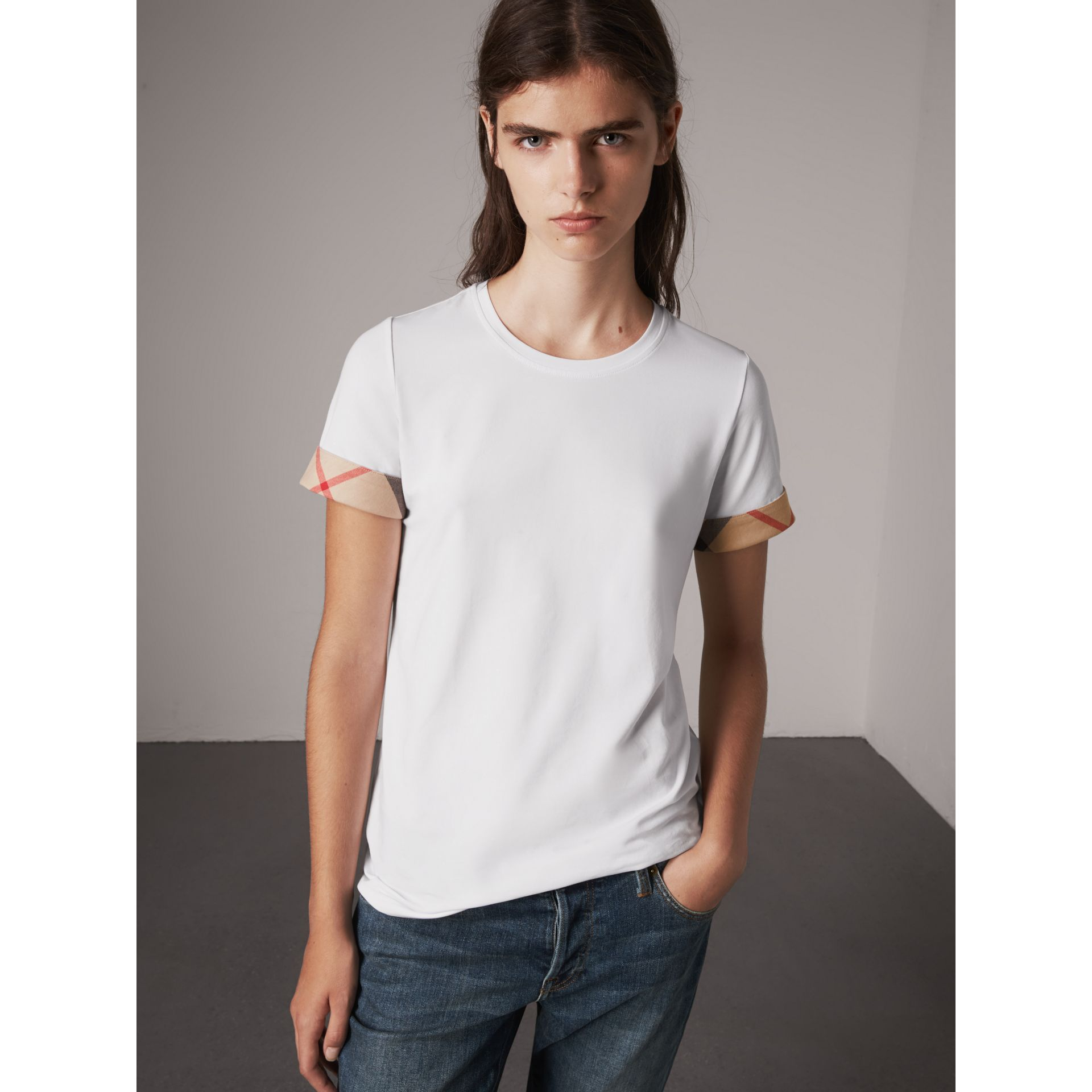 Check Cuff Stretch Cotton T-Shirt in White - Women | Burberry Canada - gallery image 4