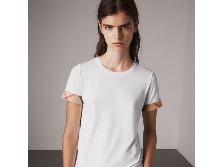 Check Cuff Stretch Cotton T-Shirt in White - Women | Burberry Australia - cell image 4