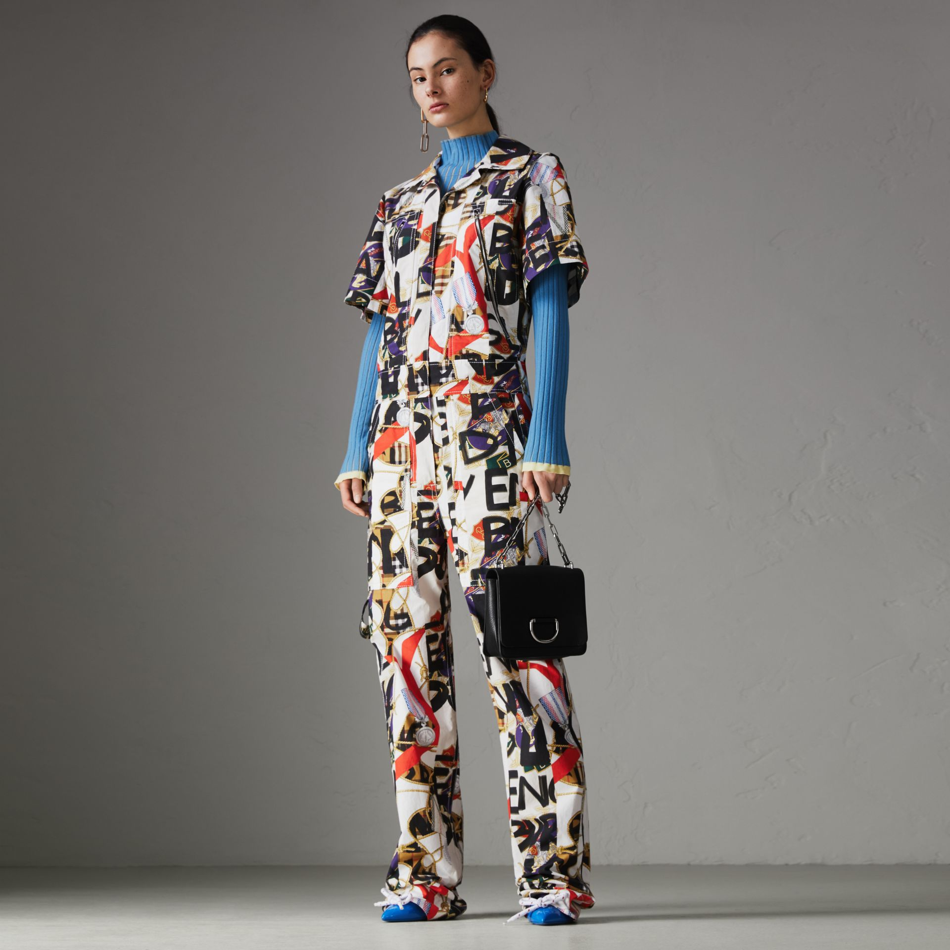 Graffiti Archive Scarf Print Cotton Jumpsuit in Stone - Women | Burberry Hong Kong - gallery image 0