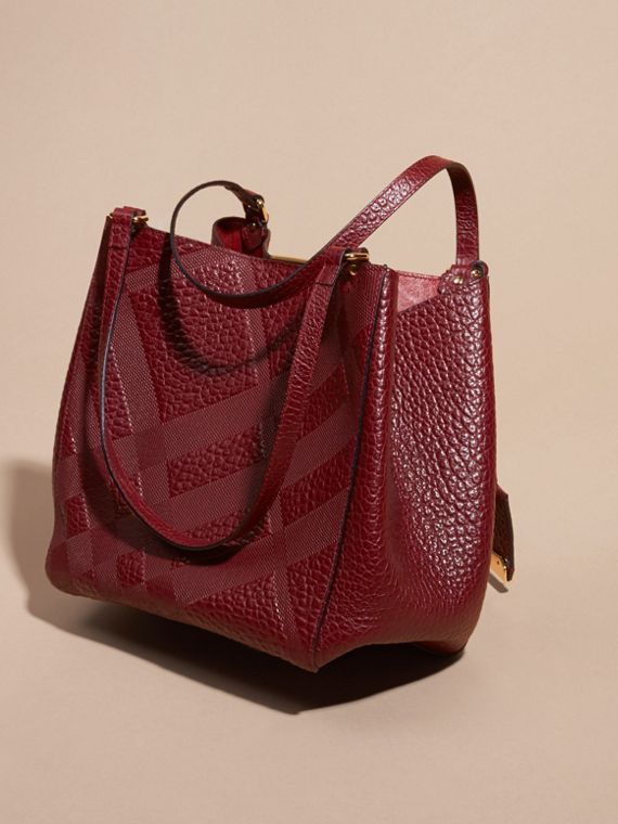 Deep red The Small Canter in Embossed Check Leather Deep Red - cell image 3