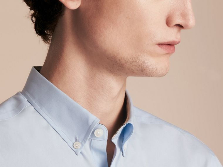 Short-sleeved Stretch Cotton Poplin Shirt in Pale Blue - Men | Burberry - cell image 4