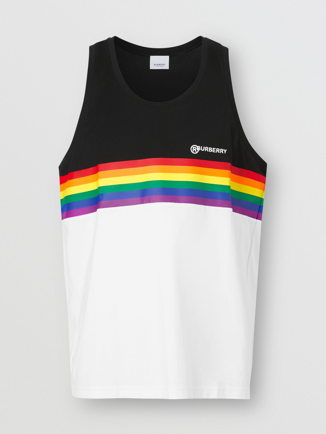 Rainbow Stripe Print Cotton Vest – Unisex (Black)