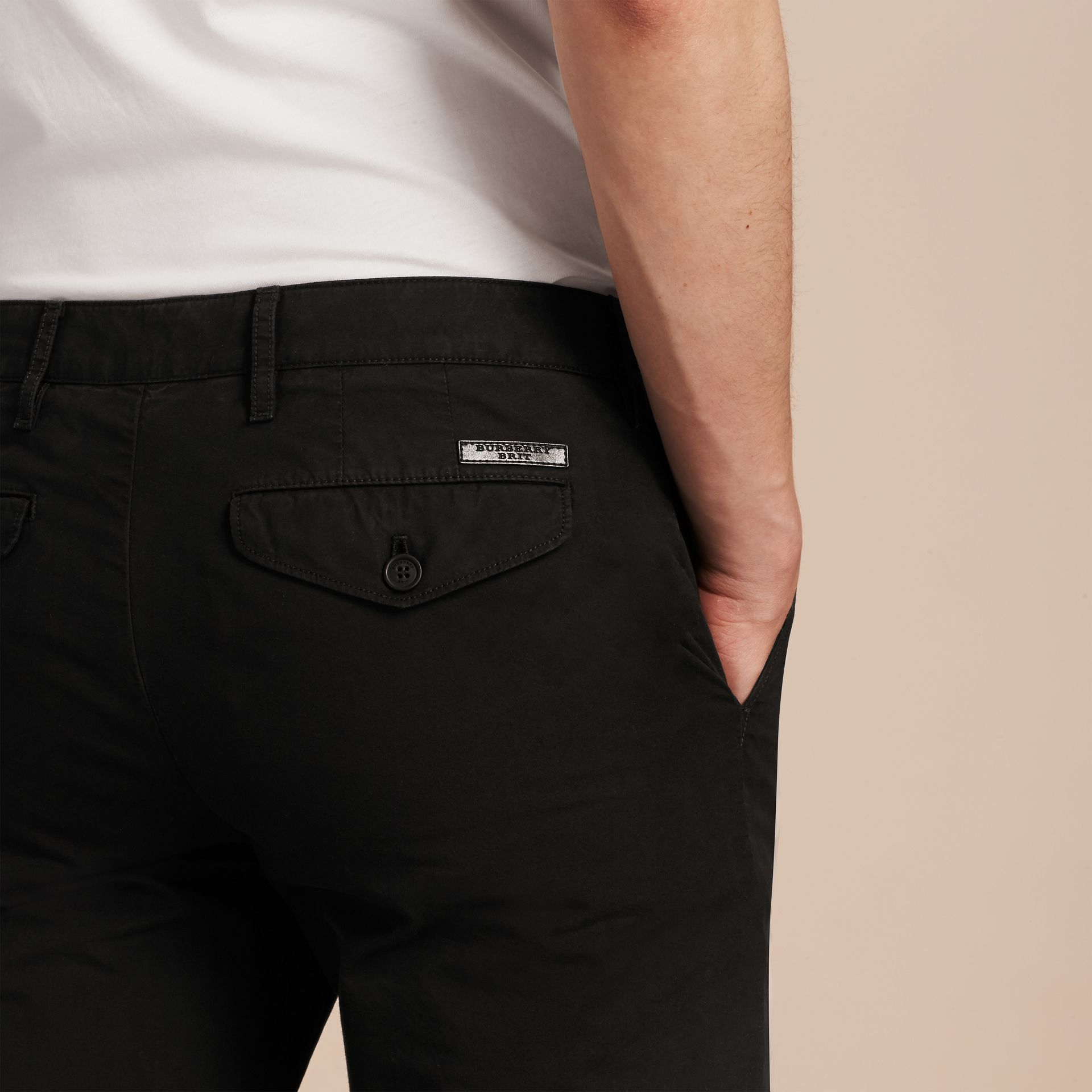 Slim Fit Cotton Poplin Chinos in Black - gallery image 5
