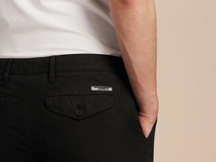 Slim Fit Cotton Poplin Chinos in Black - Men | Burberry - cell image 4