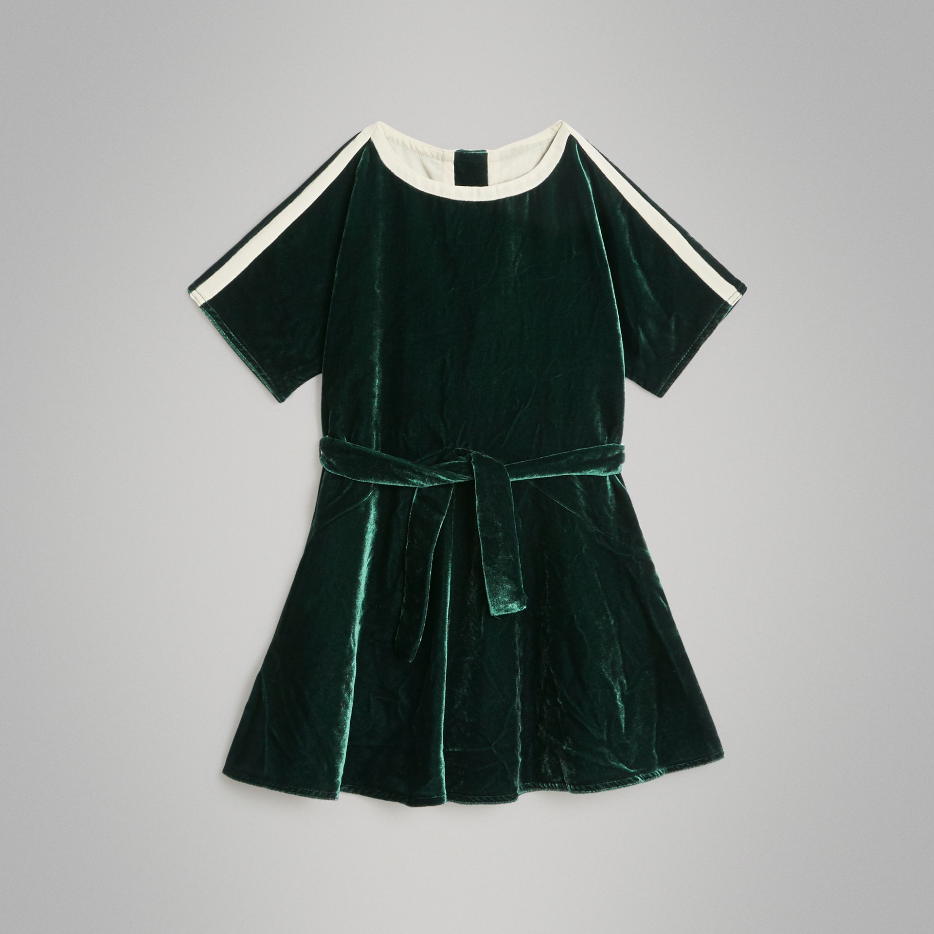 Stripe Detail Velvet Dress in Dark Forest Green | Burberry - gallery image 0