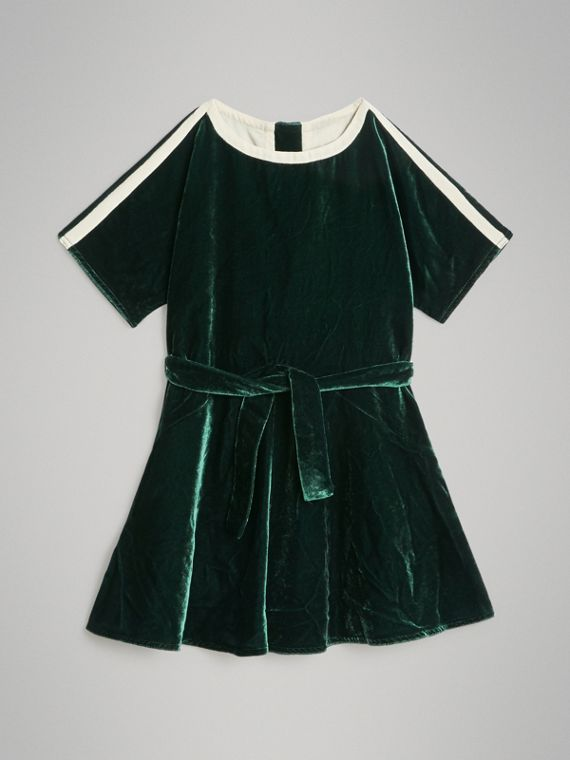 Stripe Detail Velvet Dress in Dark Forest Green