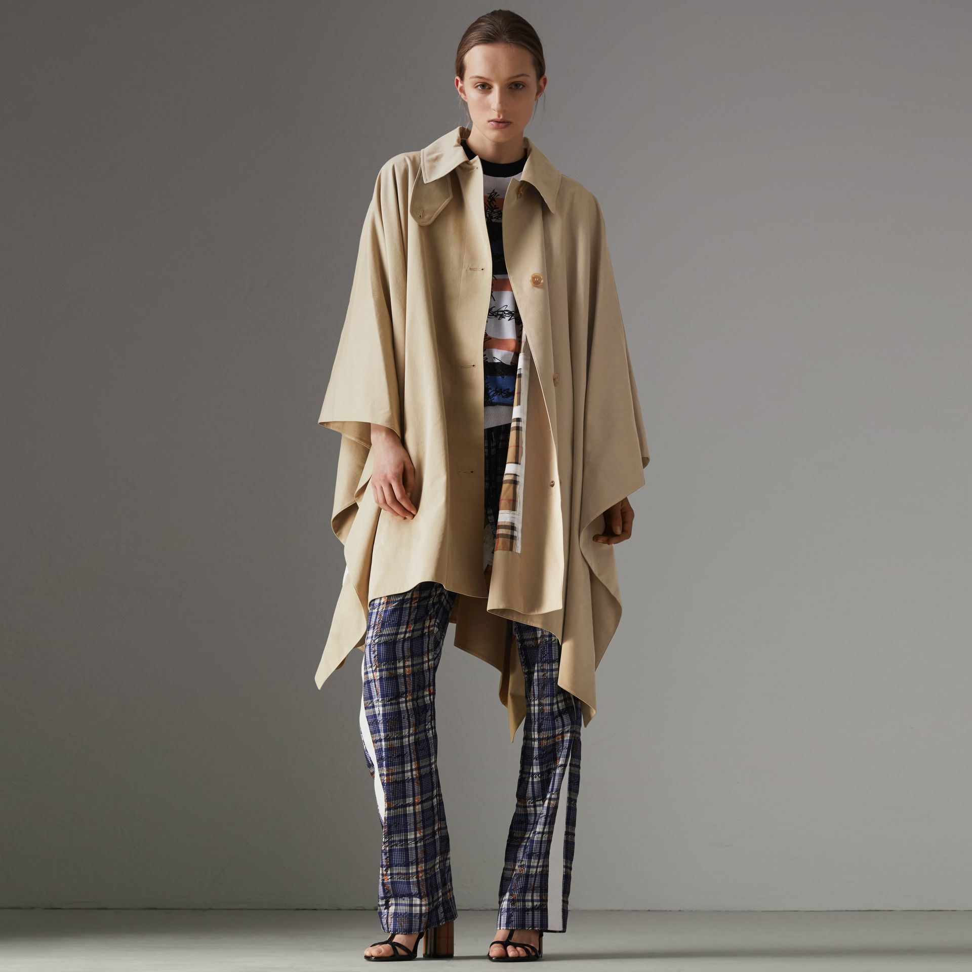 Tropical Gabardine Asymmetric Cape in Oatmeal - Women | Burberry United States - gallery image 0