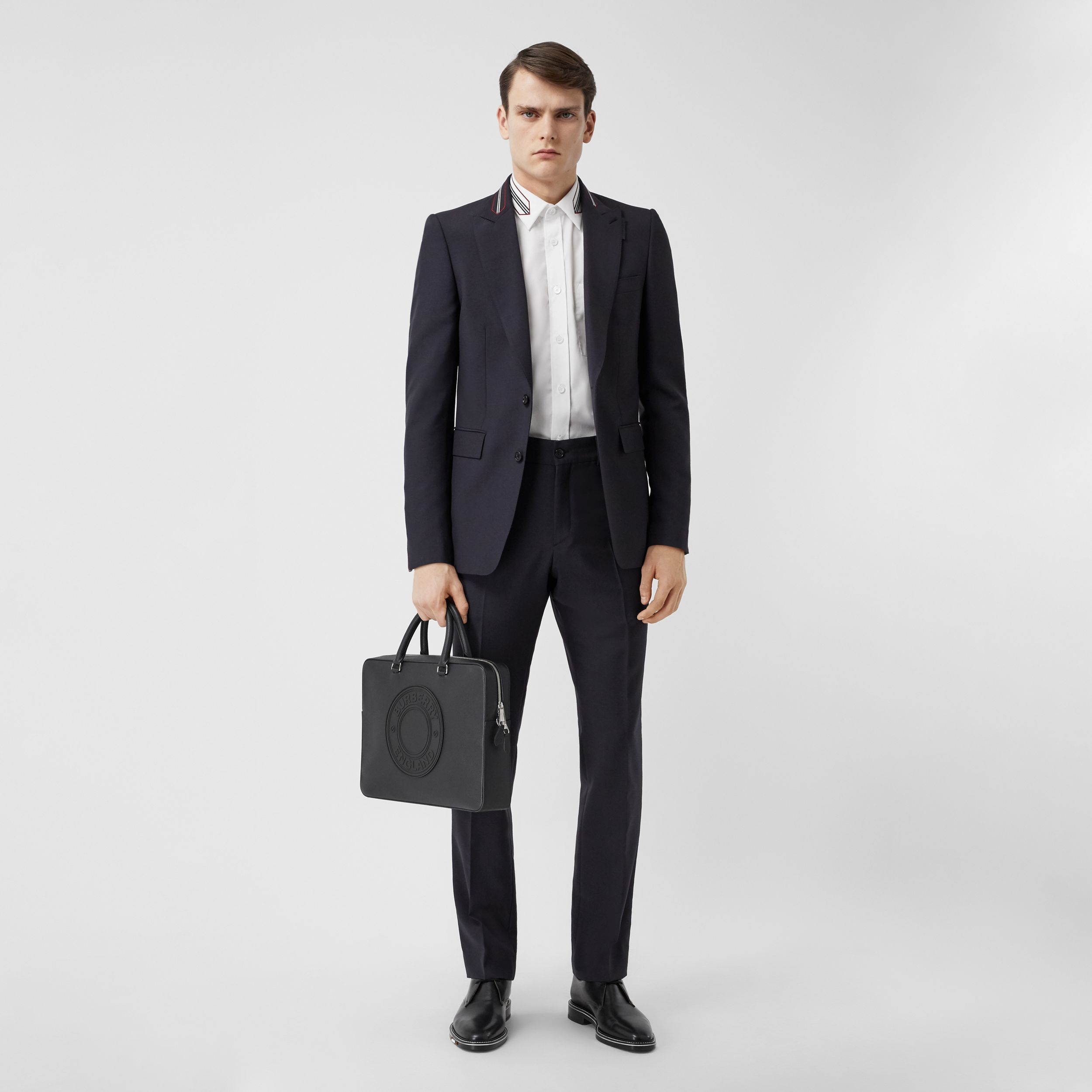 Classic Fit Stripe Detail Wool Mohair Tailored Trousers in Navy - Men | Burberry - 1