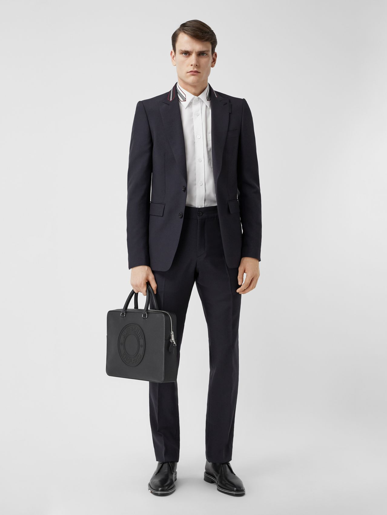 Classic Fit Stripe Detail Wool Mohair Tailored Trousers in Navy