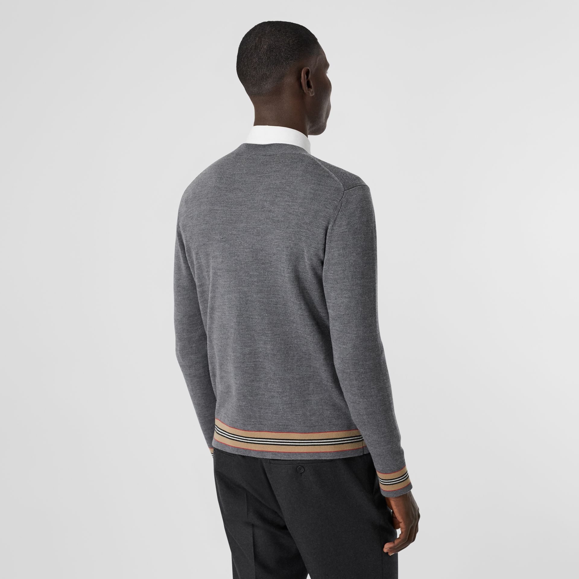 Icon Stripe Detail Merino Wool Sweater in Dark Grey Melange - Men | Burberry - gallery image 2