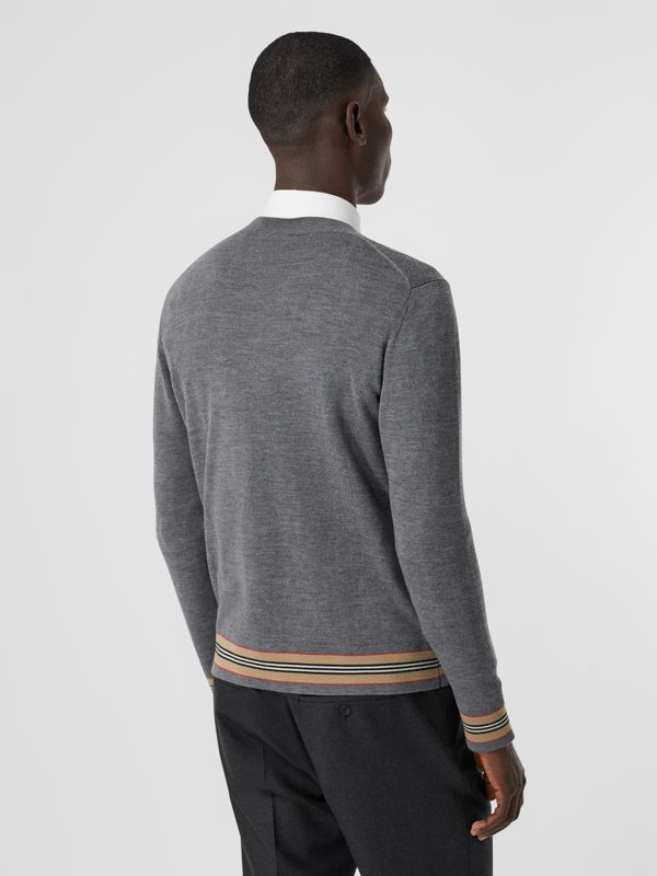 Icon Stripe Detail Merino Wool Sweater in Dark Grey Melange - Men | Burberry Australia - cell image 2
