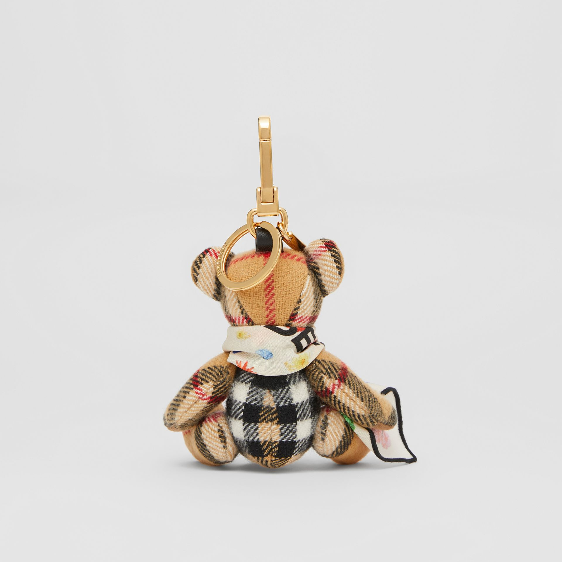 Thomas Bear Charm with Floral Silk Scarf in Antique Yellow - Women | Burberry United Kingdom - gallery image 3
