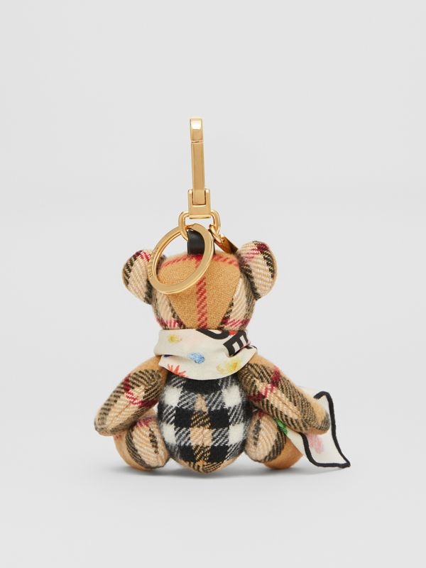 Thomas Bear Charm with Floral Silk Scarf in Antique Yellow - Women | Burberry United Kingdom - cell image 3