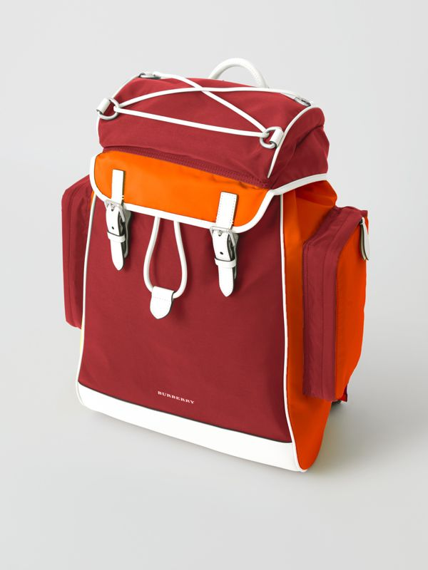 Tri-tone Nylon and Leather Backpack in Parade Red - Men | Burberry - cell image 2