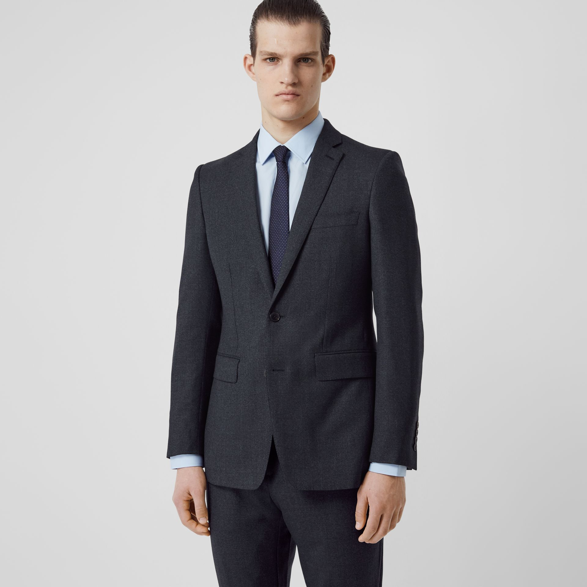 English Fit Sharkskin Wool Suit in Bright Navy Melange - Men | Burberry United Kingdom - gallery image 5