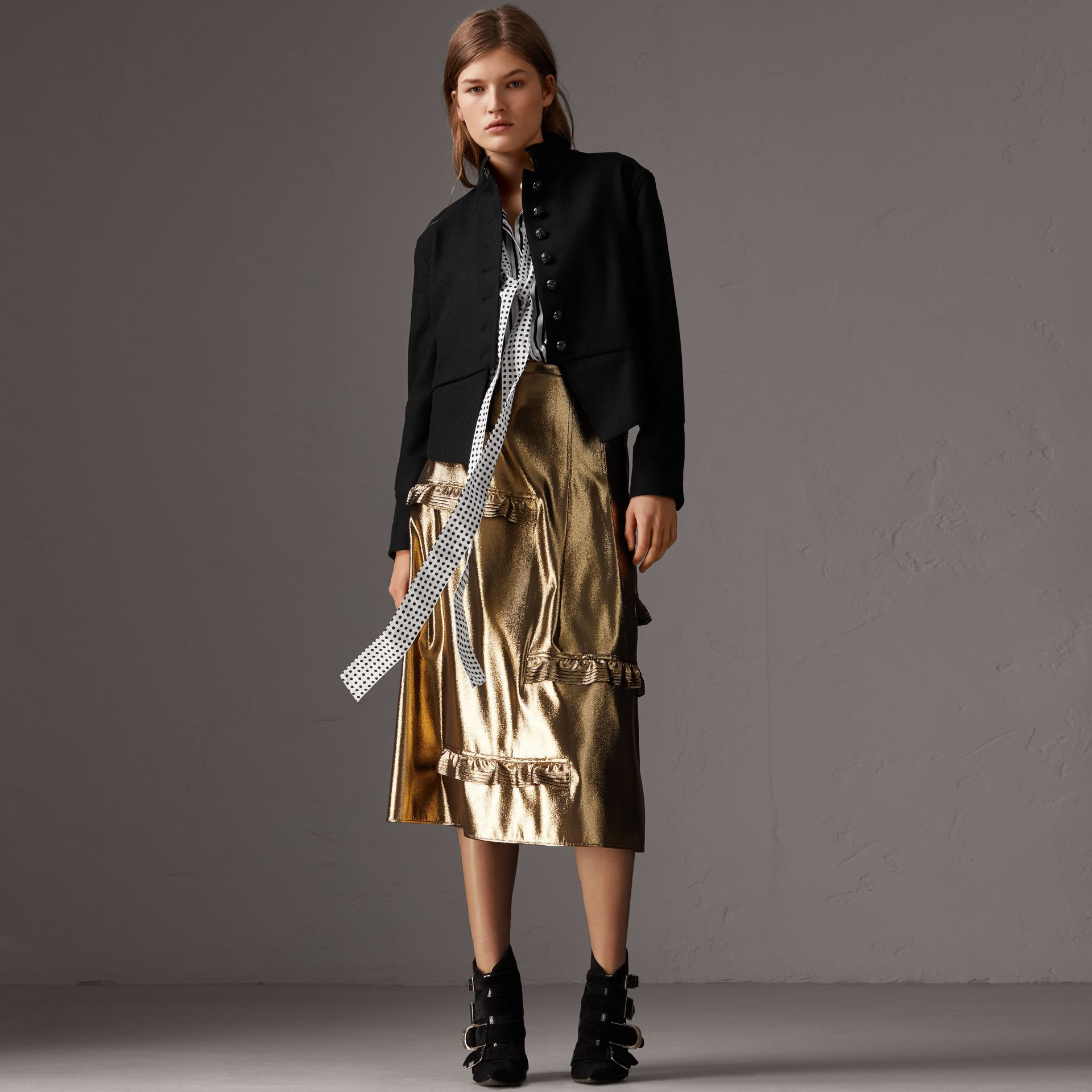 Ruffle Detail Lamé Skirt – Online Exclusive in Gold - Women | Burberry - gallery image 0