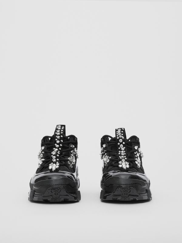 Crystal Detail Suede and Mesh Arthur Sneakers in Black/crystal - Women | Burberry United Kingdom - cell image 2