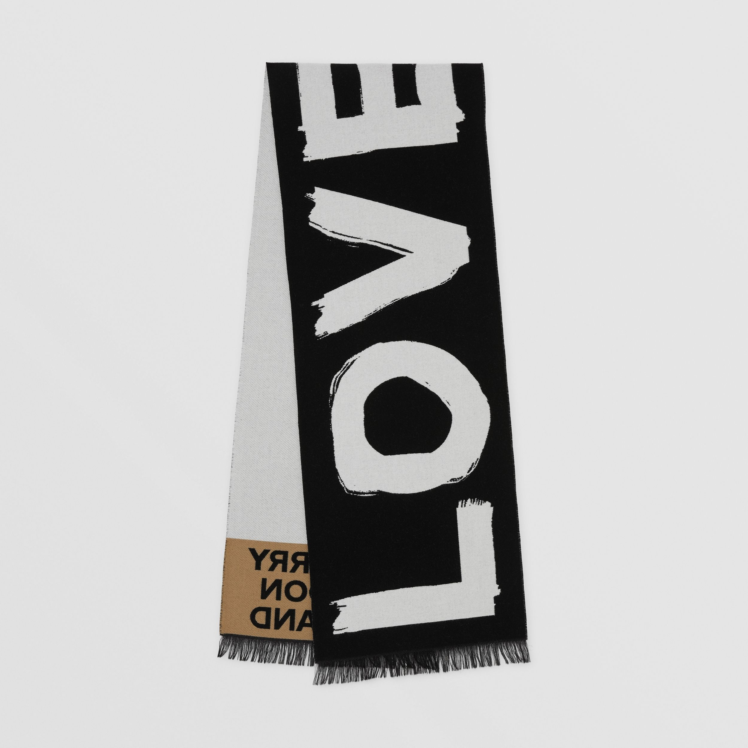 Love and Logo Wool Silk Jacquard Scarf in Black | Burberry - 1