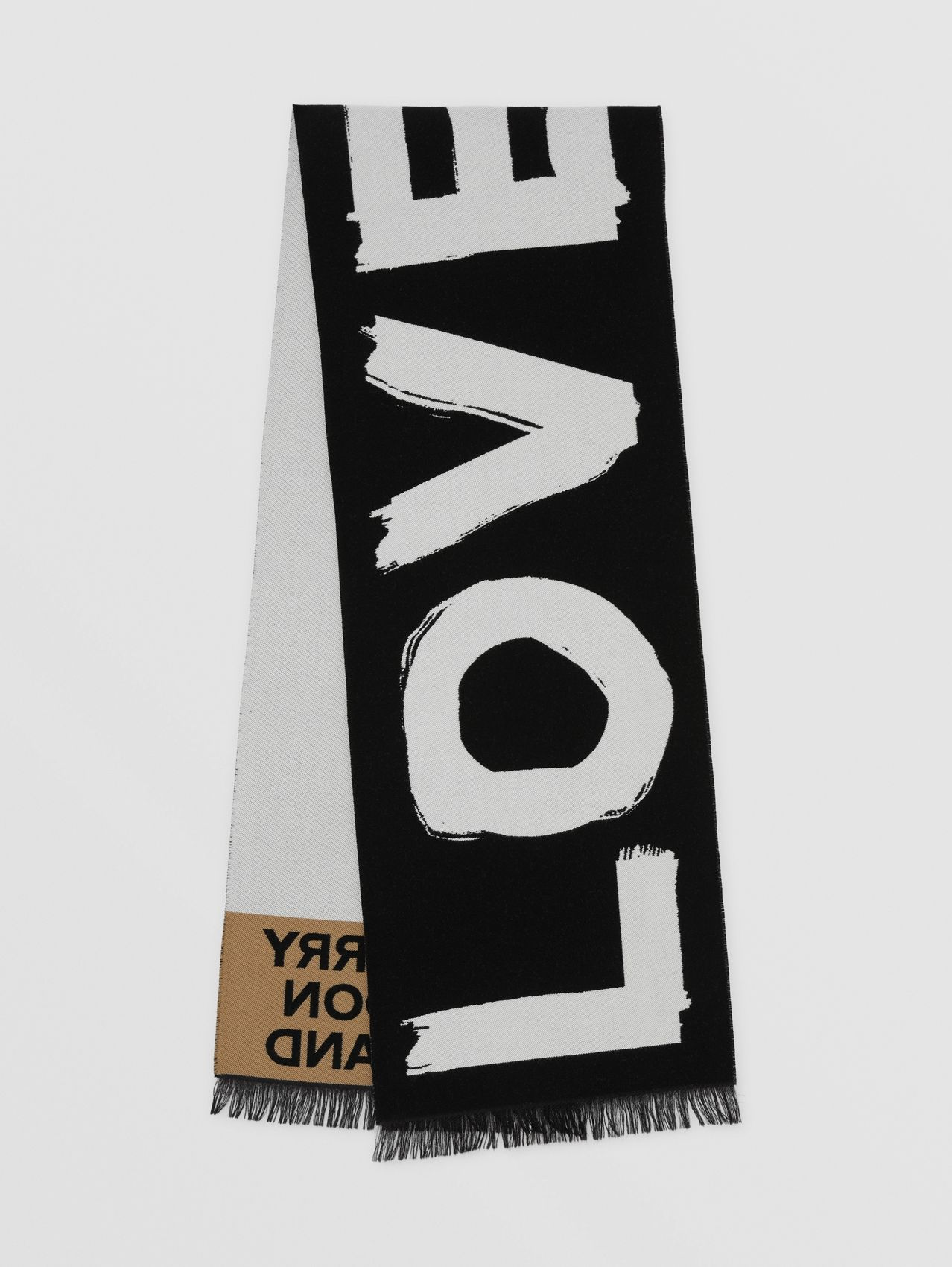 Love and Logo Wool Silk Jacquard Scarf in Black