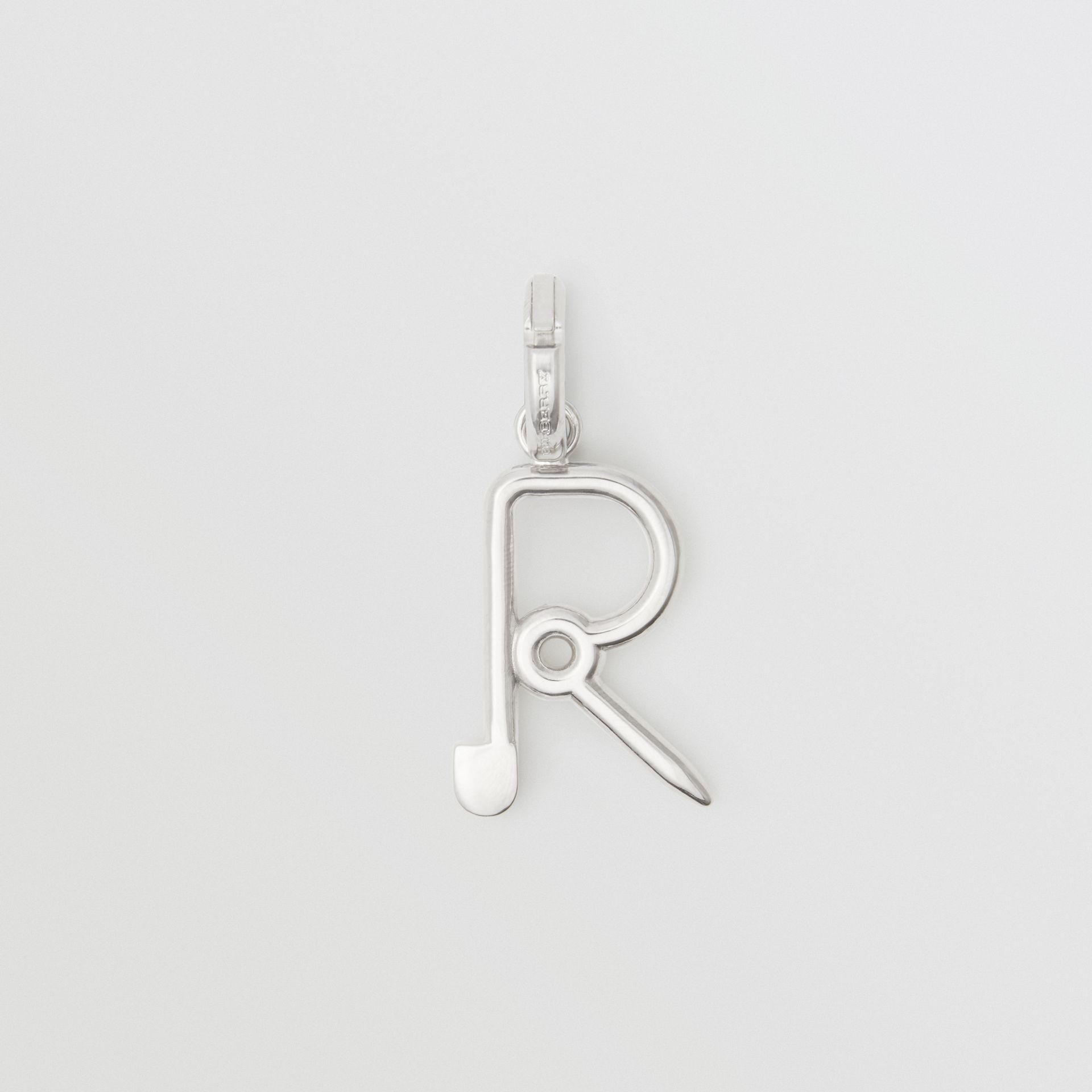 Kilt Pin 'R' Alphabet Charm in Palladio - Women | Burberry - gallery image 0