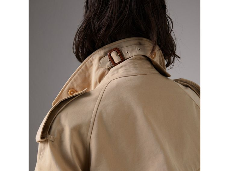 Bird Button Cotton Gabardine Trench Coat in Honey - Women | Burberry - cell image 4