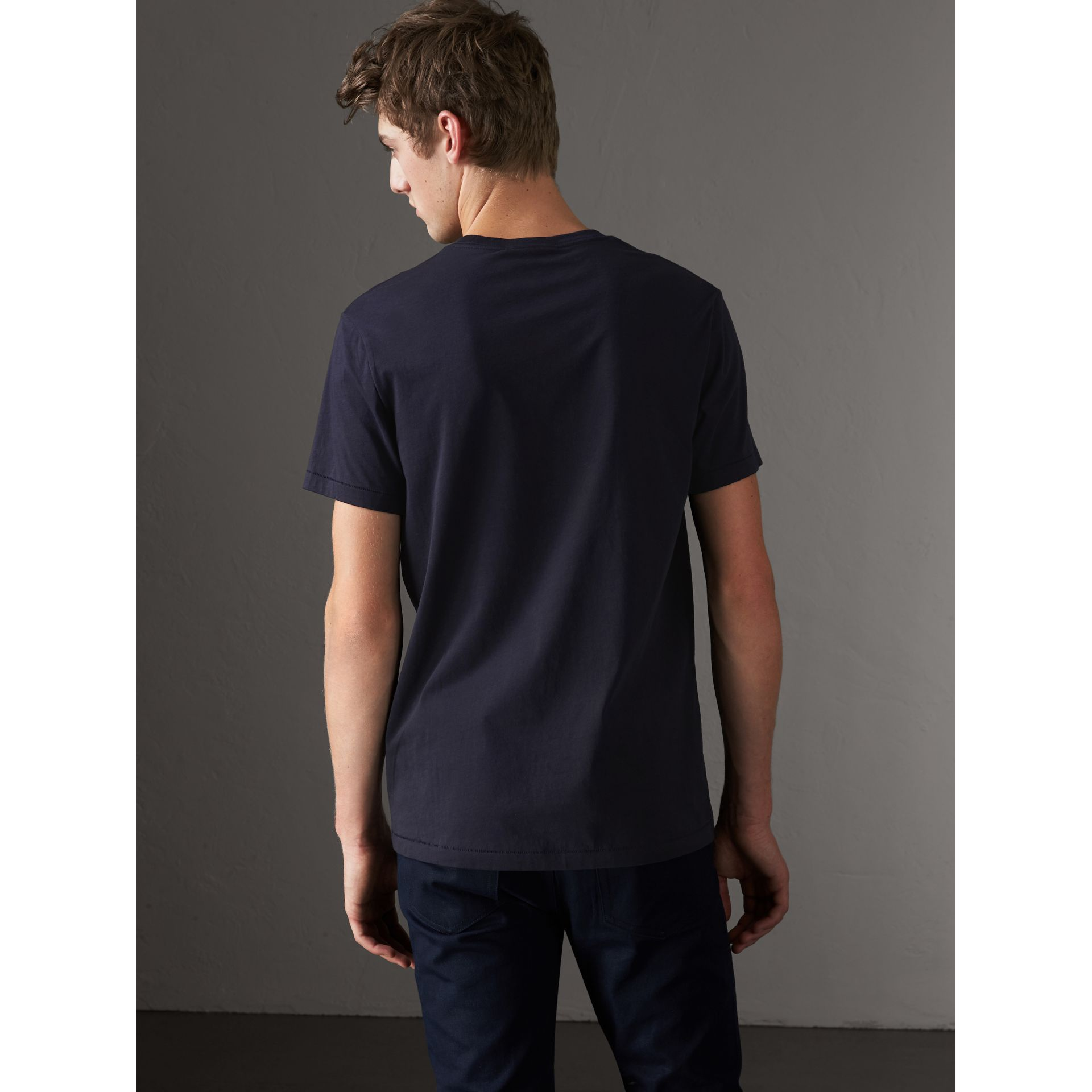 Cotton Jersey T-shirt in Navy - Men | Burberry United States - gallery image 2