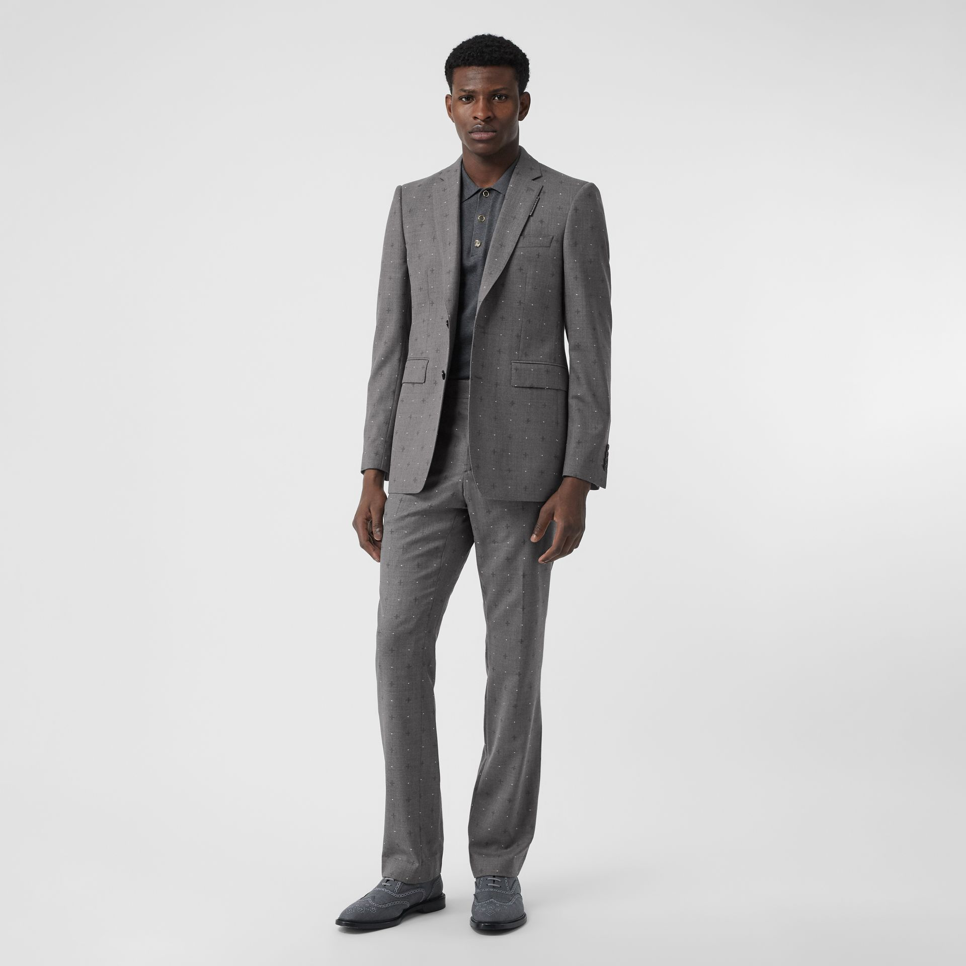 Classic Fit Fil Coupé Wool Cotton Tailored Trousers in Mid Grey Melange - Men | Burberry - gallery image 0