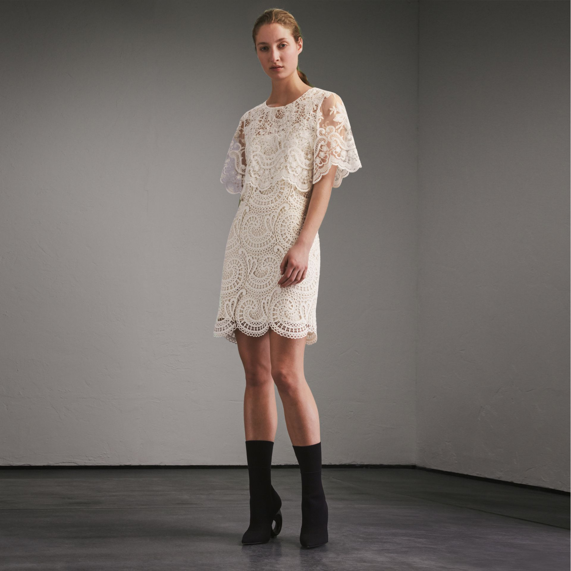 Layered Macramé Lace Shift Dress - Women | Burberry - gallery image 6