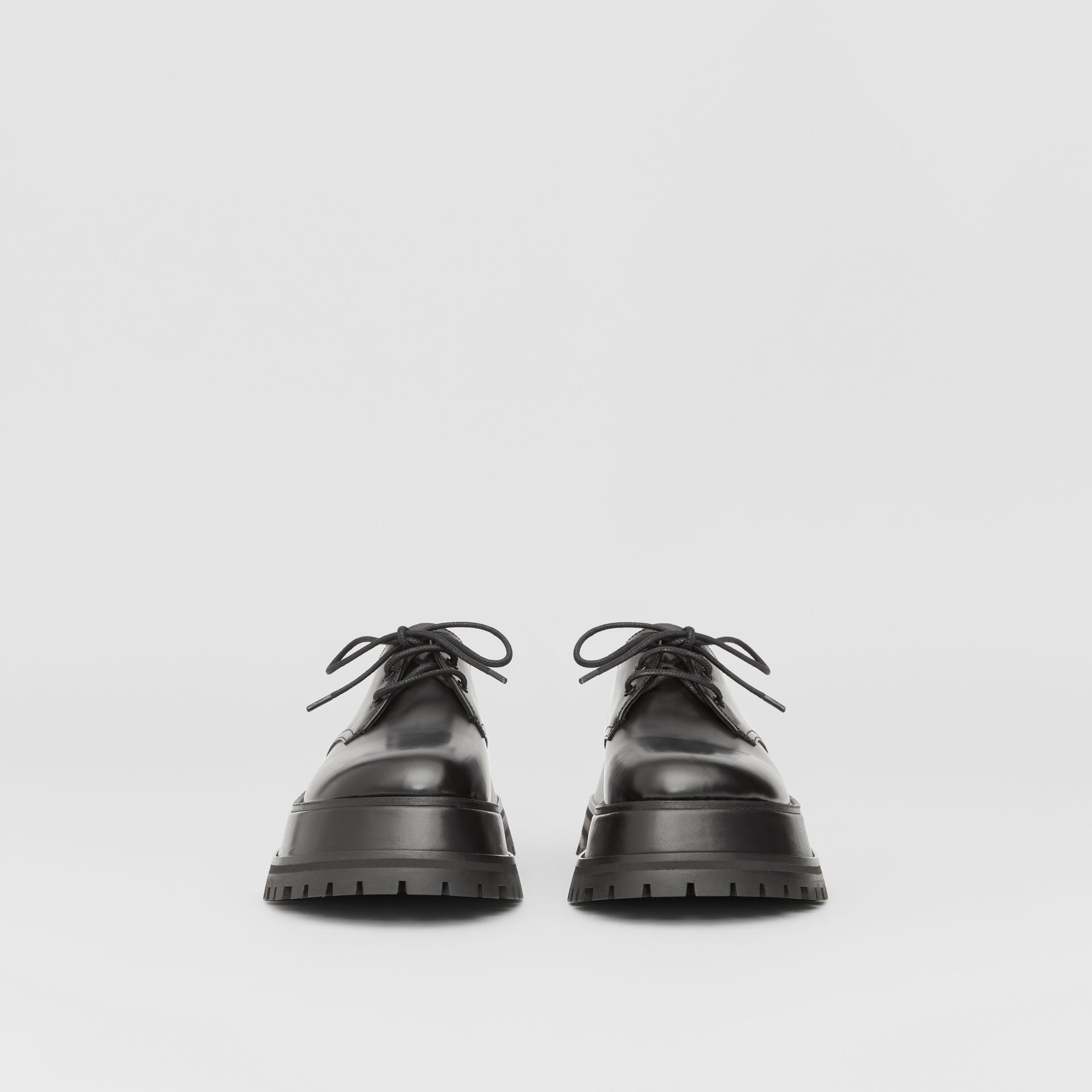 Leather Derby Shoes in Black - Women | Burberry - gallery image 2