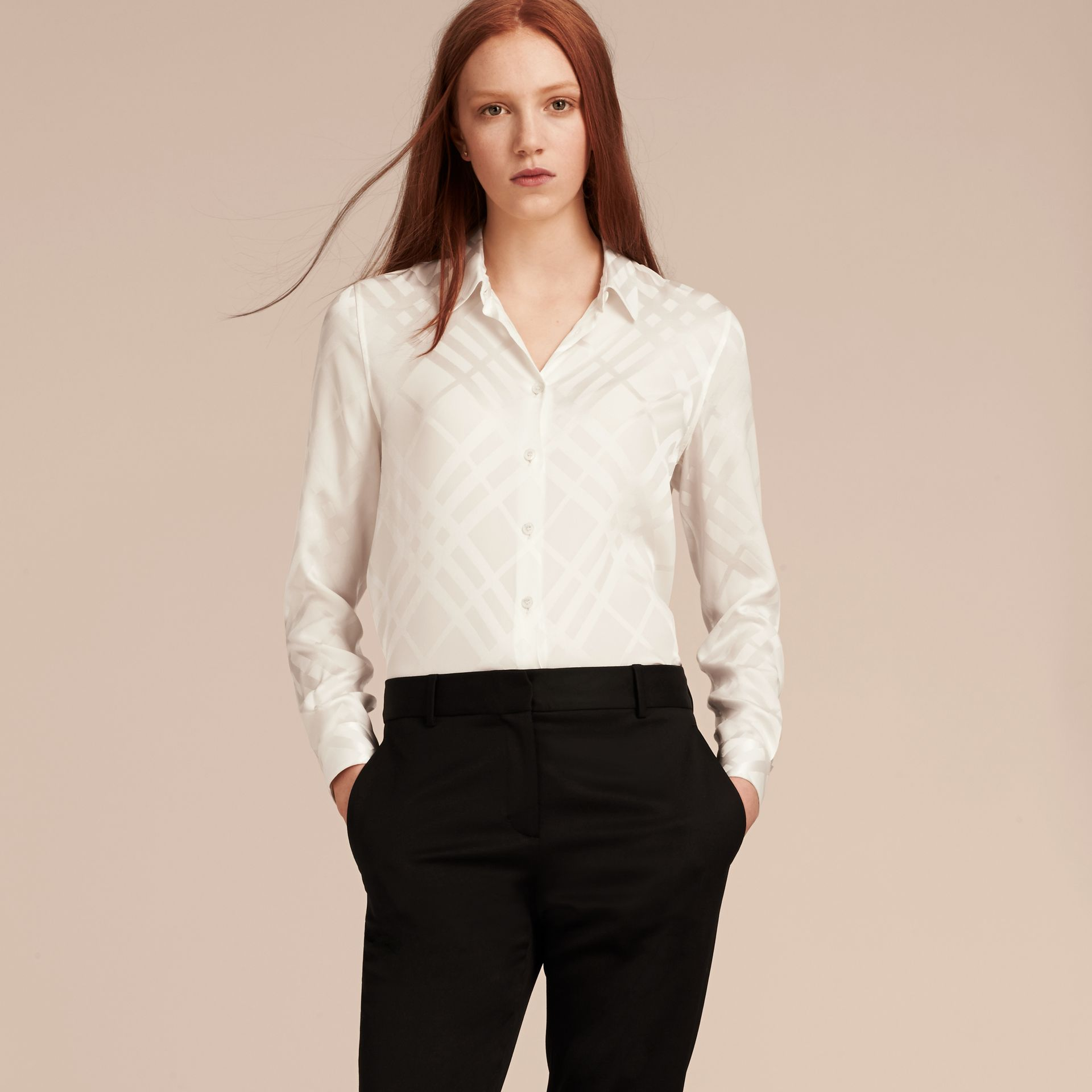 White Tonal Check Silk Shirt White - gallery image 6