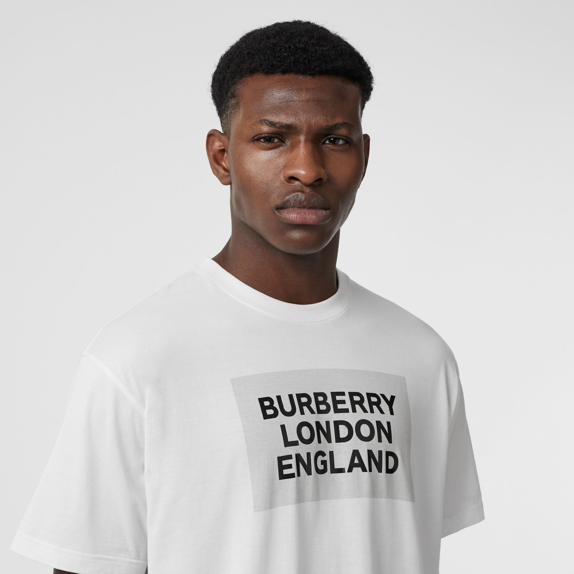 Logo Print Cotton Oversized T-shirt in Optic White | Burberry Singapore - gallery image 1