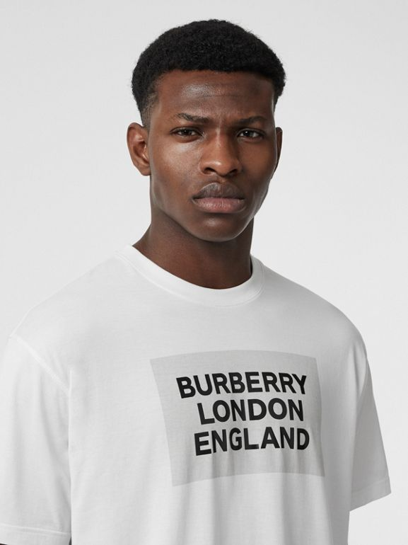 Logo Print Cotton Oversized T-shirt in Optic White | Burberry Singapore - cell image 1
