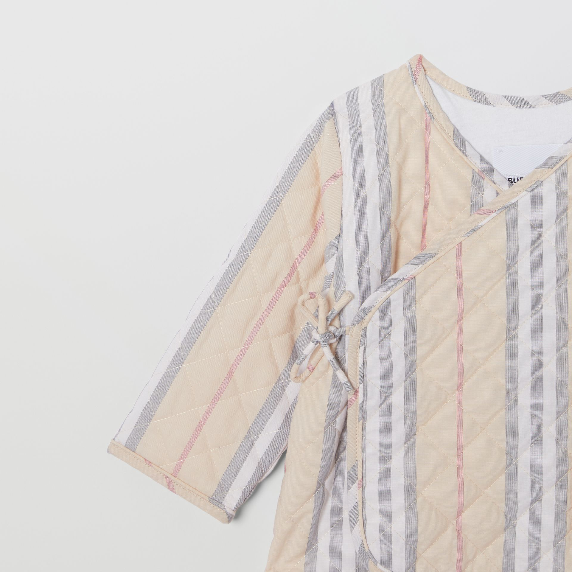 Quilted Icon Stripe Cotton Wrap Jacket in Pale Stone - Children | Burberry - gallery image 4