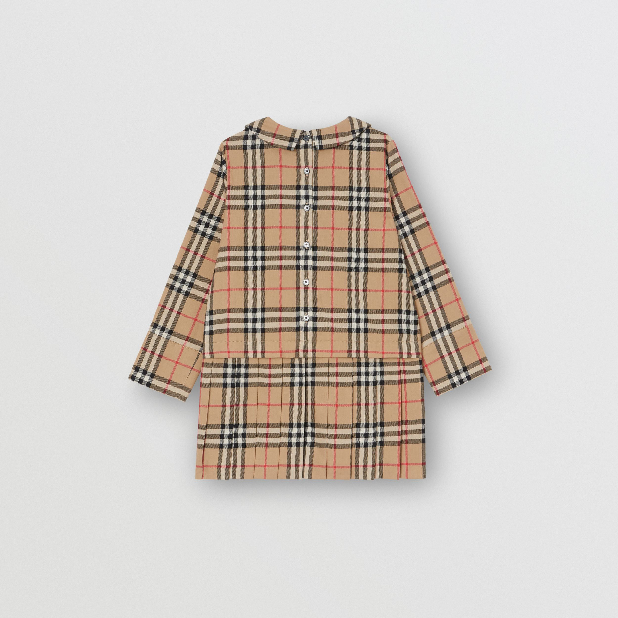 Peter Pan Collar Vintage Check Cotton Dress in Archive Beige | Burberry - 4