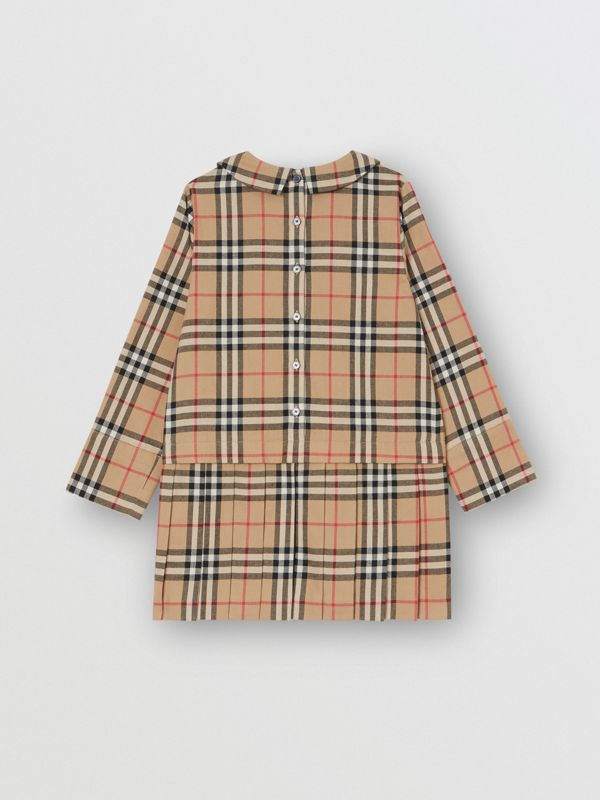 Peter Pan Collar Vintage Check Cotton Dress in Archive Beige | Burberry Singapore - cell image 3