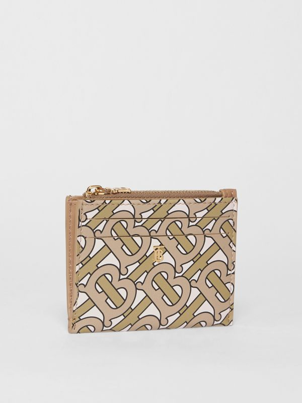 Monogram Print Leather Zip Card Case in Beige - Women | Burberry Singapore - cell image 3