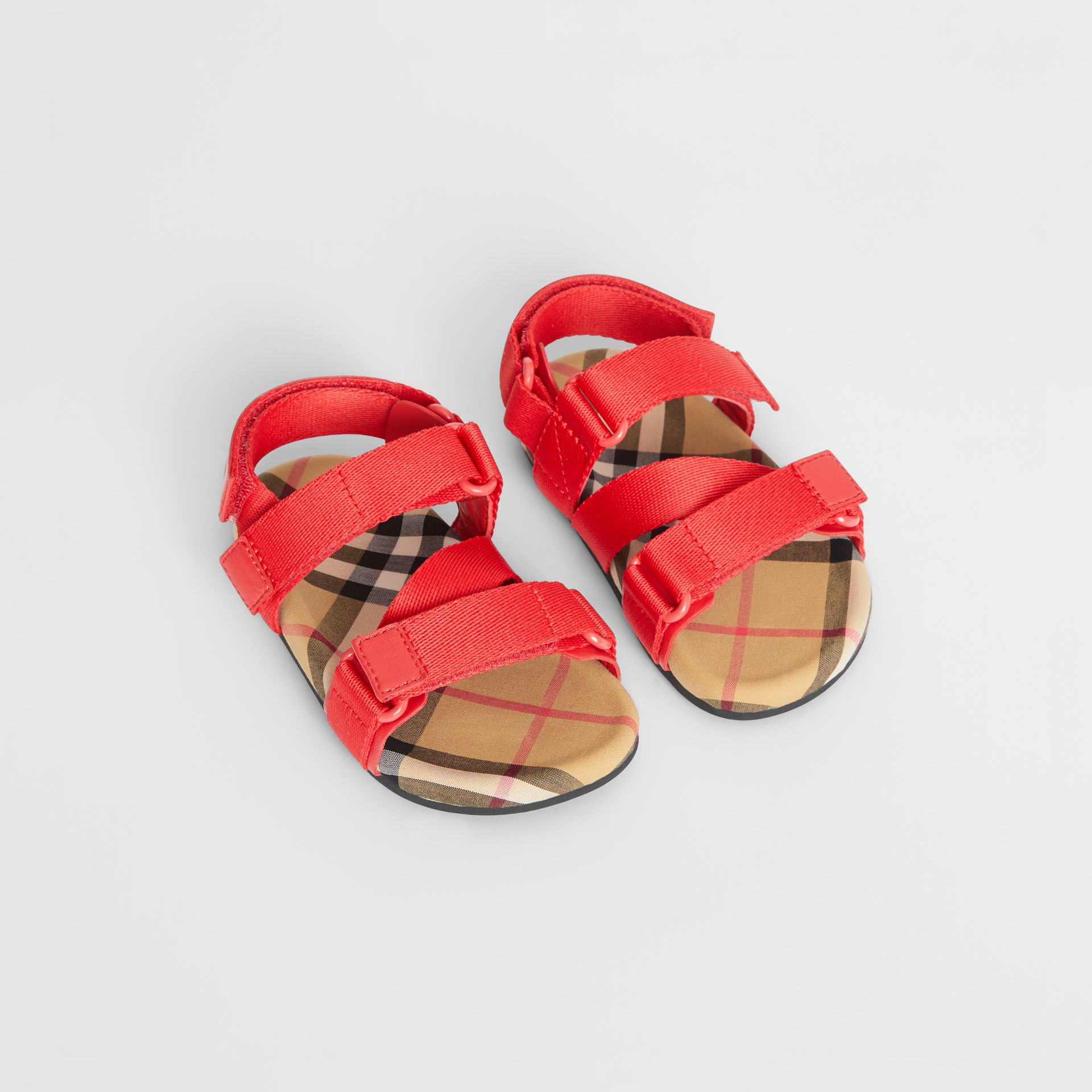 Ripstop Strap Vintage Check Cotton Sandals in Bright Red/antique Yellow - Children | Burberry Canada - gallery image 0