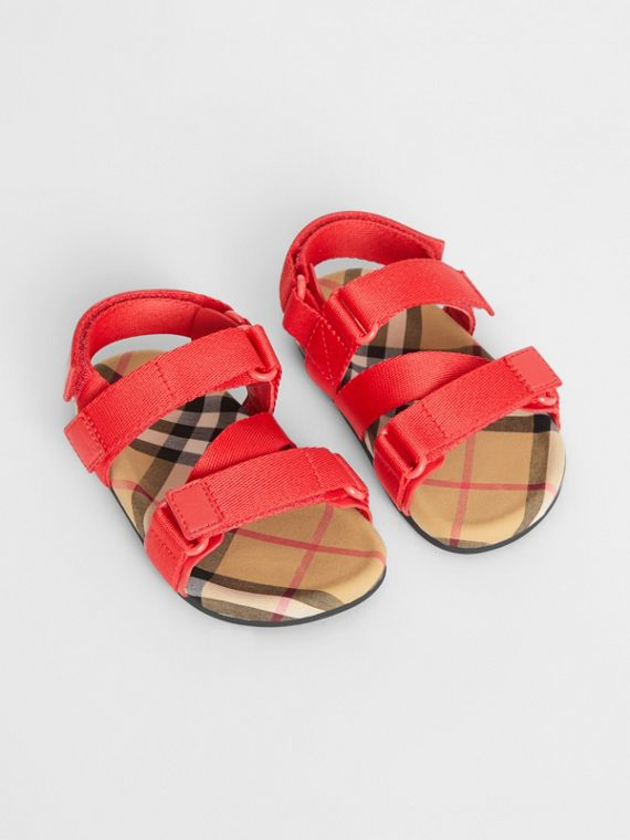 Ripstop Strap Vintage Check Cotton Sandals in Bright Red/antique Yellow