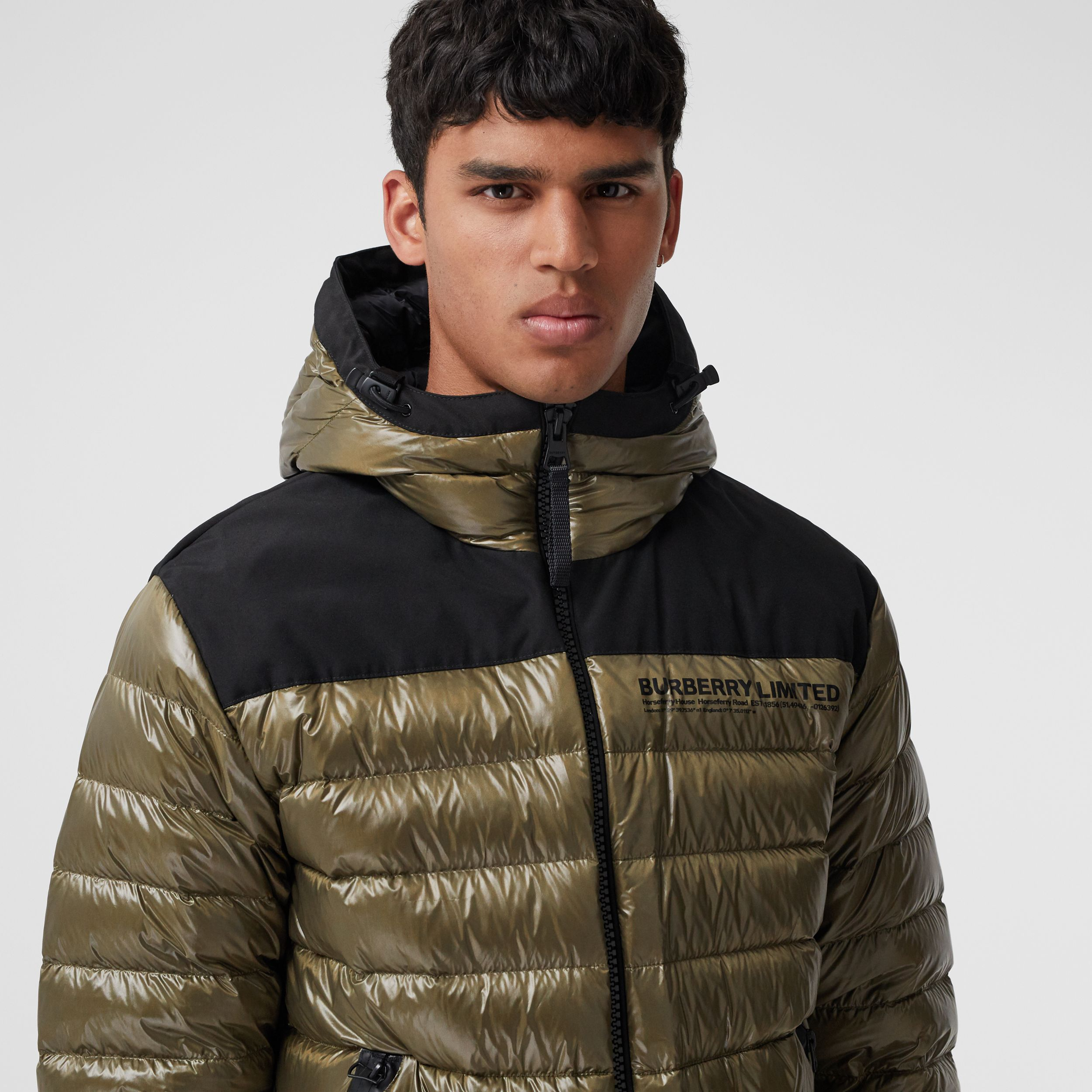 Location Print Hooded Puffer Jacket in Olive - Men | Burberry - 2