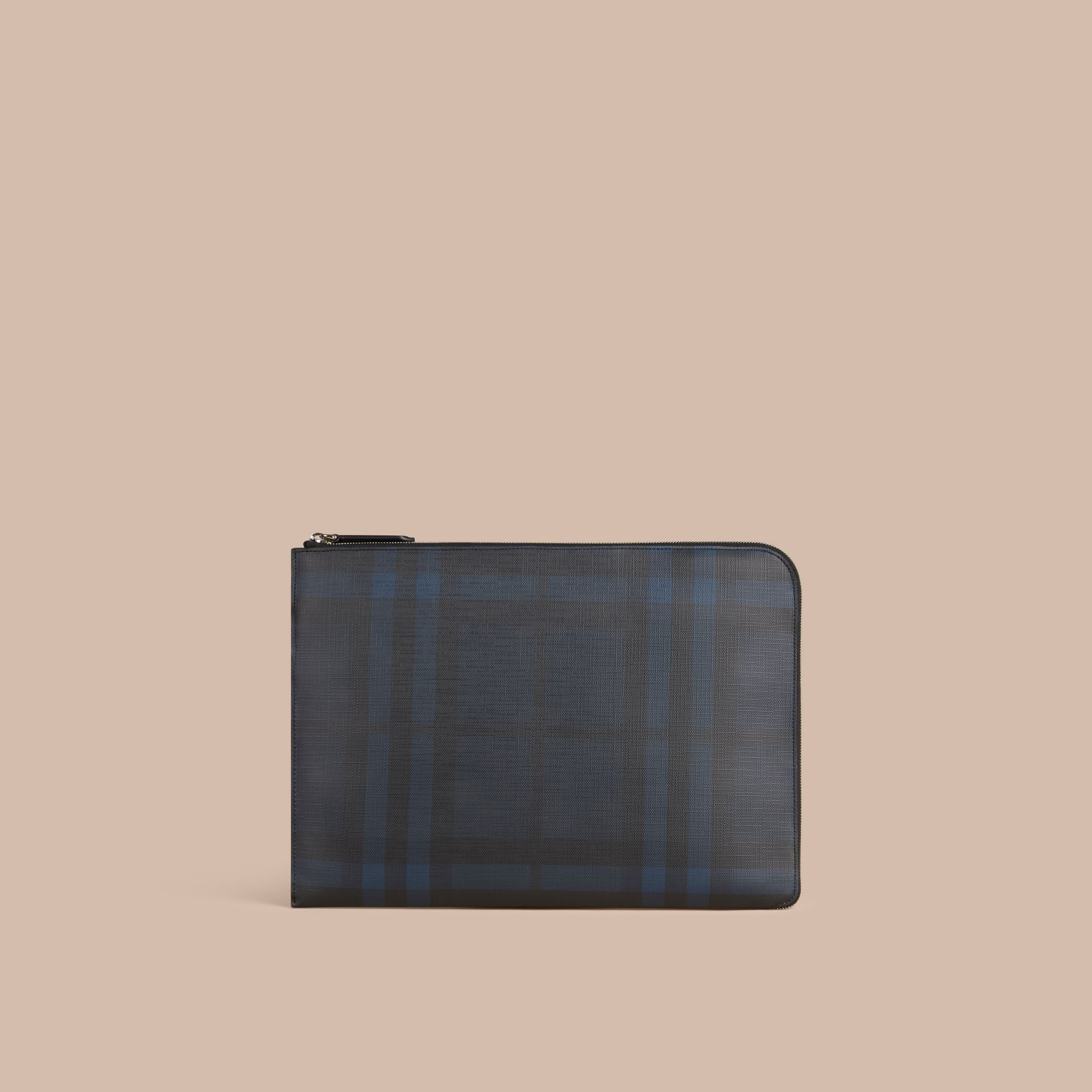 London Check Document Case in Navy/black - gallery image 4