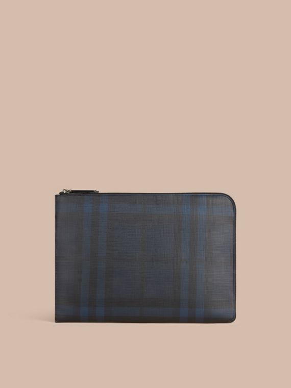 London Check Document Case in Navy/black - cell image 3