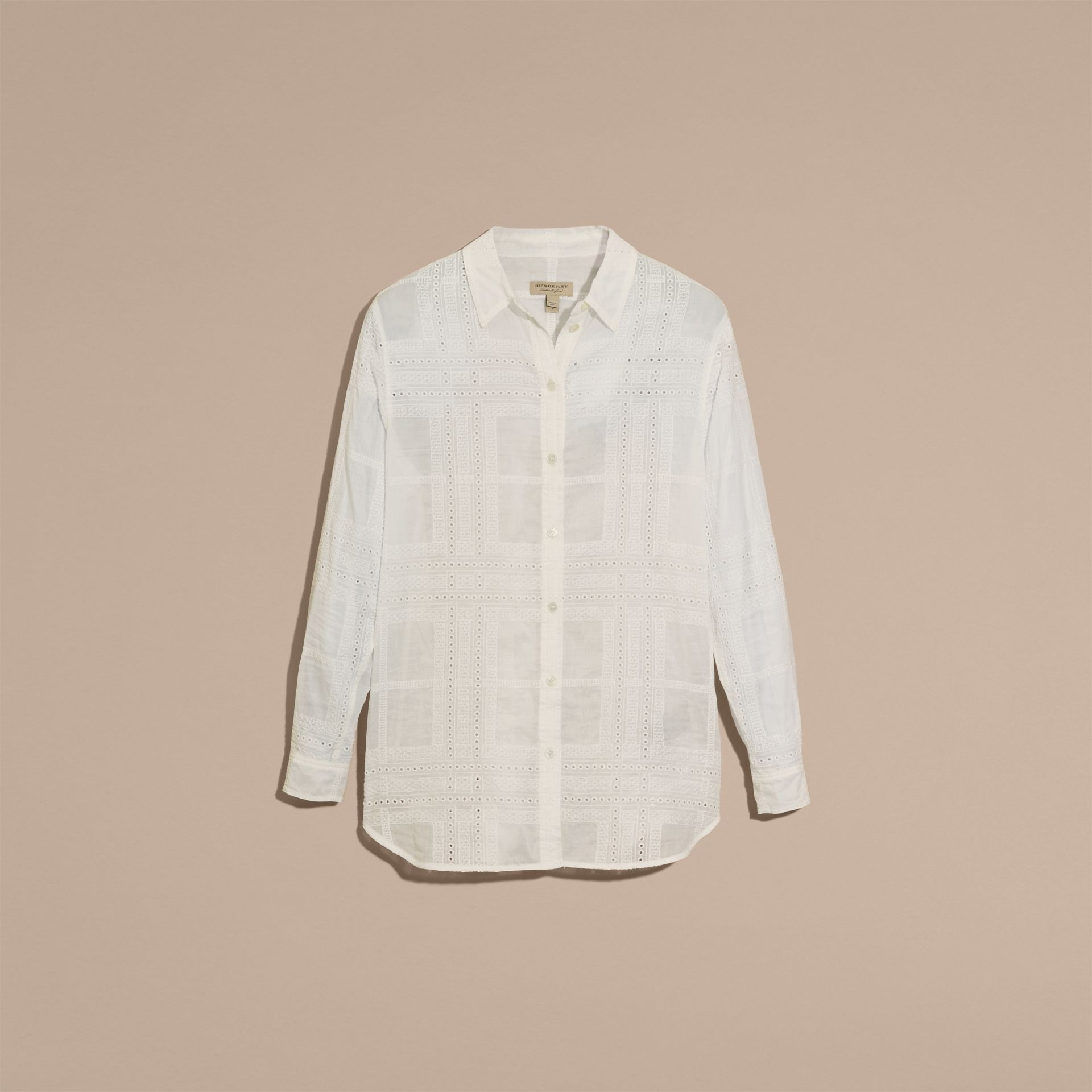 Natural white Check Cotton Broderie Anglaise Shirt - gallery image 4