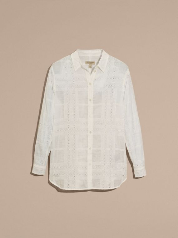 Natural white Check Cotton Broderie Anglaise Shirt - cell image 3