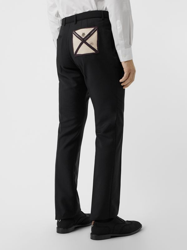 Classic Fit Triple Stud Wool Mohair Tailored Trousers in Black | Burberry - cell image 2