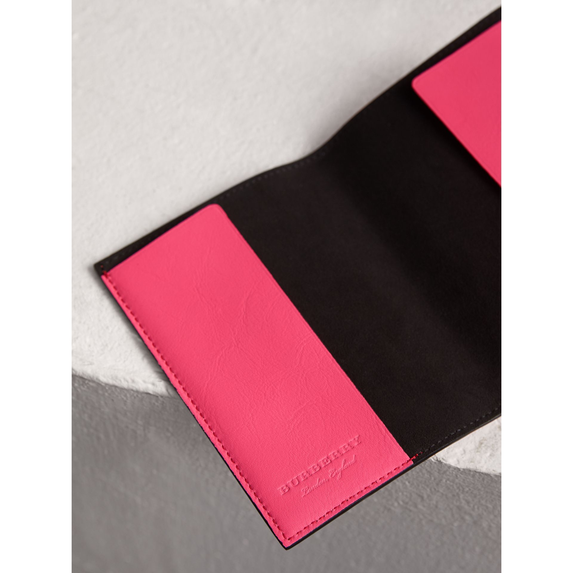 Embossed Leather Passport Holder in Bright Pink | Burberry United States - gallery image 3