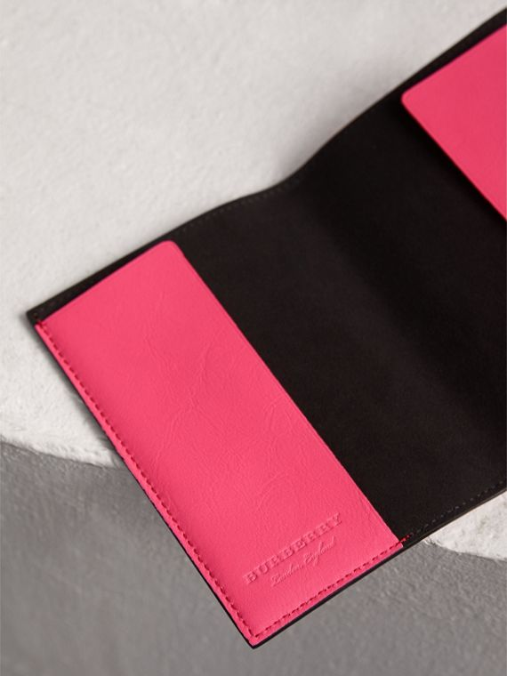 Embossed Leather Passport Holder in Bright Pink | Burberry - cell image 3
