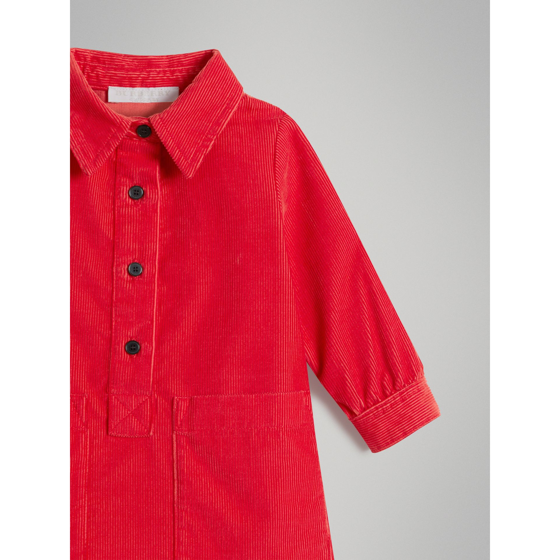 Corduroy Shirt Dress in Bright Orange Red | Burberry - gallery image 4