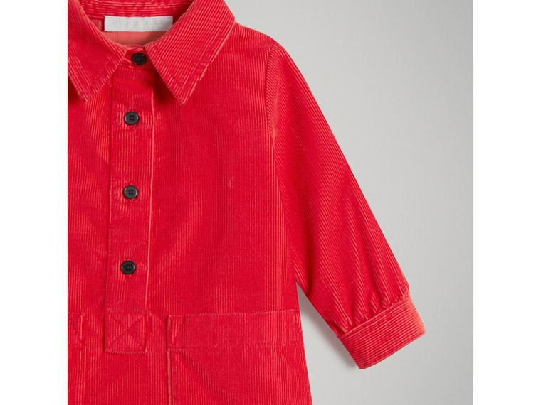 Corduroy Shirt Dress in Bright Orange Red | Burberry - cell image 4