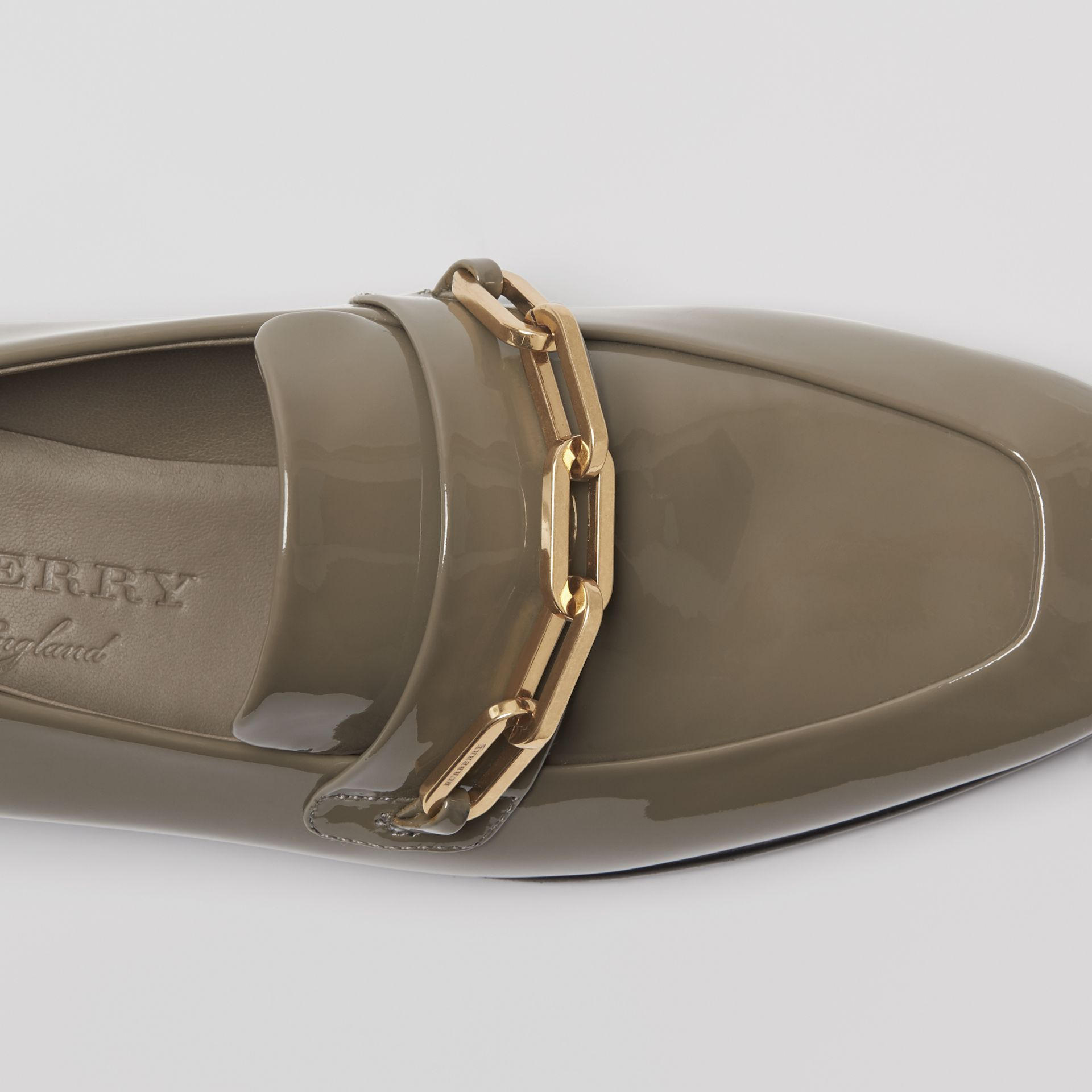 Link Detail Patent Leather Loafers in Taupe Grey - Women | Burberry Canada - gallery image 1